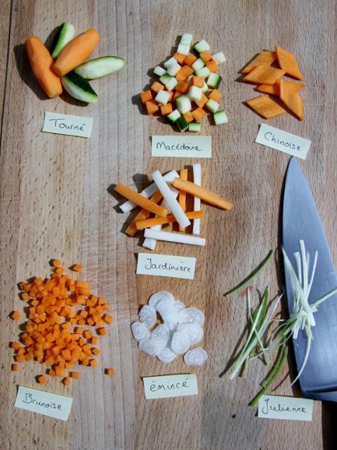 Snijtechnieken uit de klassieke Franse keuken.