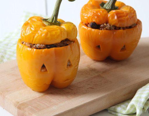 Gevulde paprika's voor Halloween