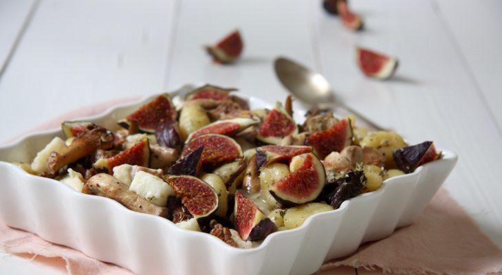 Gnocchi met gorgonzola, vijg en paddenstoelen